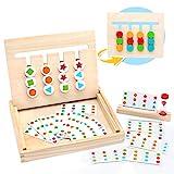 Symiu Juguetes Montessori Tablero Juego de Madera Puzzles Infantiles con Tarjetas de...