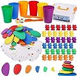 BBLIKE Juguetes Montessori 2 EN 1 Contar Osos y Arcoiris Set de Juguetes de Piedras, Juego...